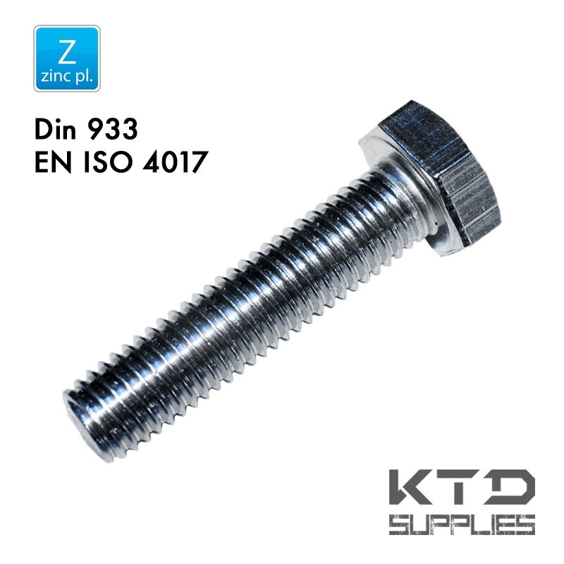 Vis à tête hegagonale - Zingué - Acier 8.8 - DIN 933