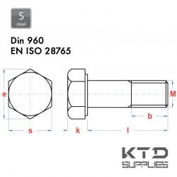 Vis à tête hexagonale - Acier 8.8 - DIN 960 – EN 28765