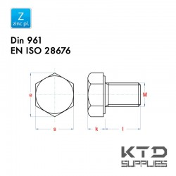 Vis à tête hexagonale - Acier 8.8 zingué - DIN 961 - EN 28676