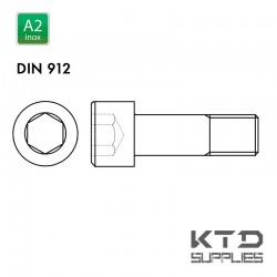 Vis à tête cylindrique à 6 pans creux - Inox A2 - DIN 912