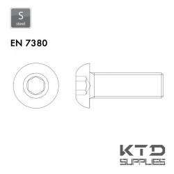 Vis à tête basse cylindrique bombée plate à 6 pans creux - EN 7380 - Acier 10.9