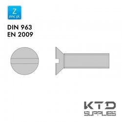 Vis à tête fraisée fendue - Acier 4.8 zingué - Filet complet - DIN 963 - EN 2009