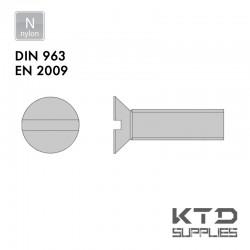 Vis à tête fraisée fendue - Nylon - Filet complet - DIN 963 - EN 2009