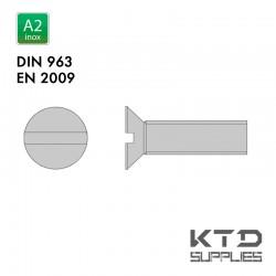 Vis à tête fraisée fendue - Inox A2 - Filet complet - DIN 963 - EN 2009
