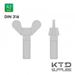 Vis à ailettes - Inox A2 - Filet complet - DIN 316