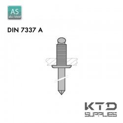 Rivet aveugle cannelé - Aluminium - Acier - DIN 7337A