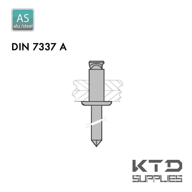 Rivet aveugle éclaté - Aluminium - Acier - DIN 7337A