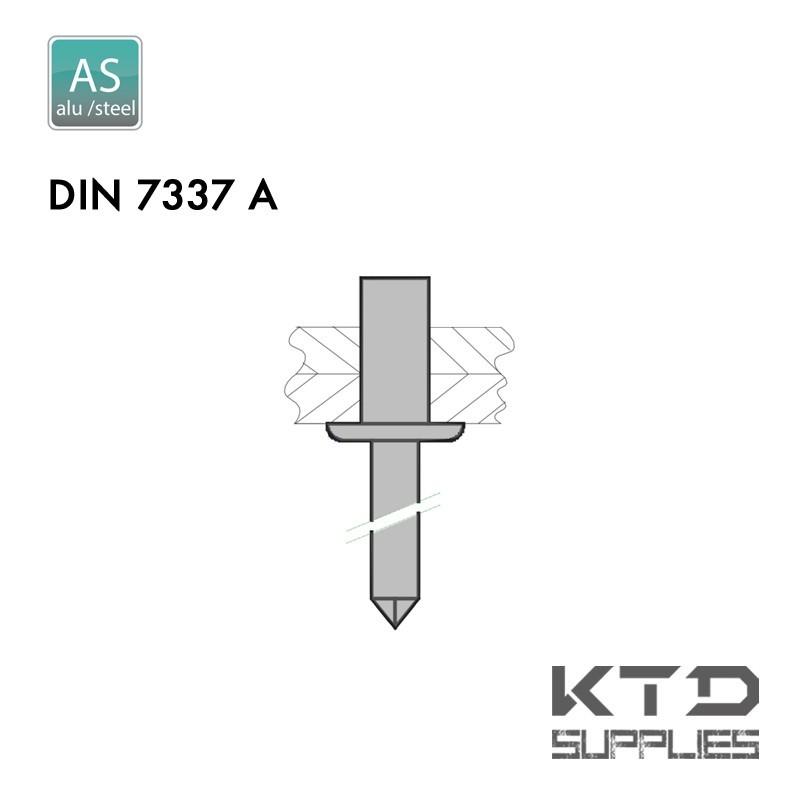Rivet aveugle étanche - Aluminium - Acier - DIN 7337A