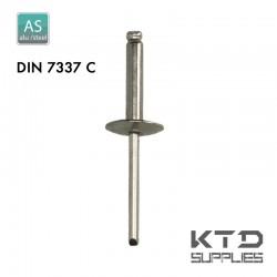 Rivet aveugle - Alu/Acier - DIN 7337C - Tête large