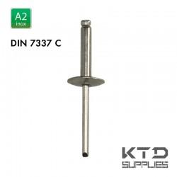 Rivet aveugle - Inox A2 - DIN 7337C - Tête large