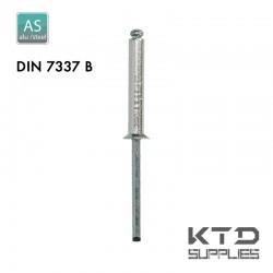 Rivet aveugle - Alu/Acier - Zingué - DIN 7337B