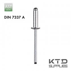 Rivet aveugle tête plate bombée - Aluminium(AlMg3/5) - A2 - DIN 7337A
