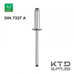 Rivet aveugle tête plate bombée - Inox A2 - DIN 7337A