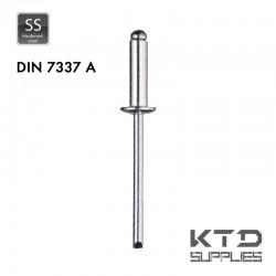 Rivet aveugle tête plate bombée - Acier - Zingué - DIN 7337A