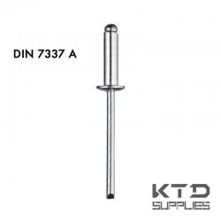 Rivet aveugle tête plate bombée - Cuivre et acier - DIN 7337A