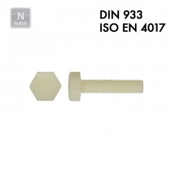 Vis à tête hexagonale - Polyamide PA 6.6 - DIN 933