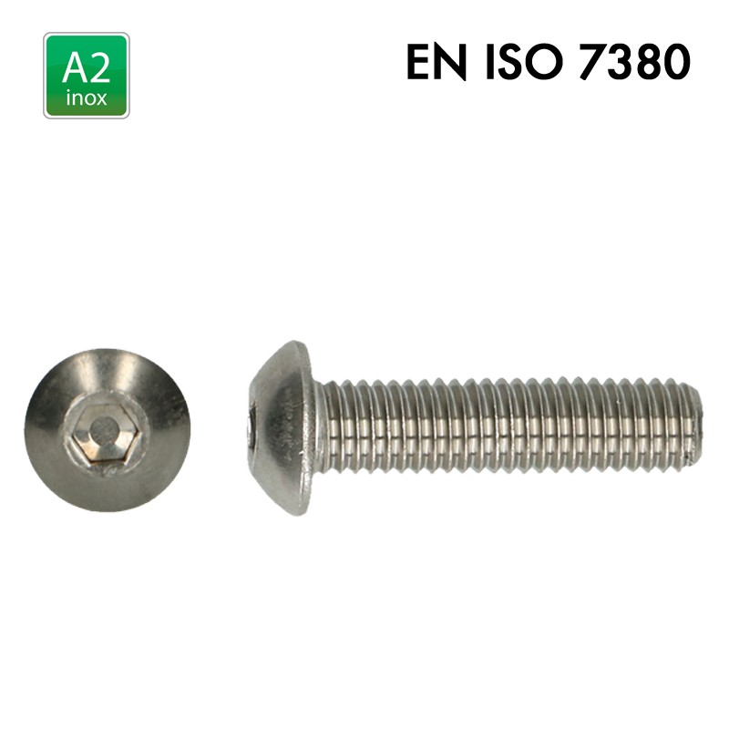 Vis à tête basse cylindrique bombée plate à 6 pans creux - EN 7380 - Inox A2