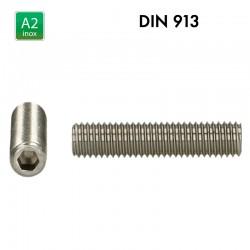 Vis sans tête à 6 pans creux - Inox A2 - DIN 913 - Bout plat