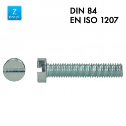 Vis à tête cylindrique fendue - Acier 4.8 zingué - Filet complet - DIN 84 - EN 1207