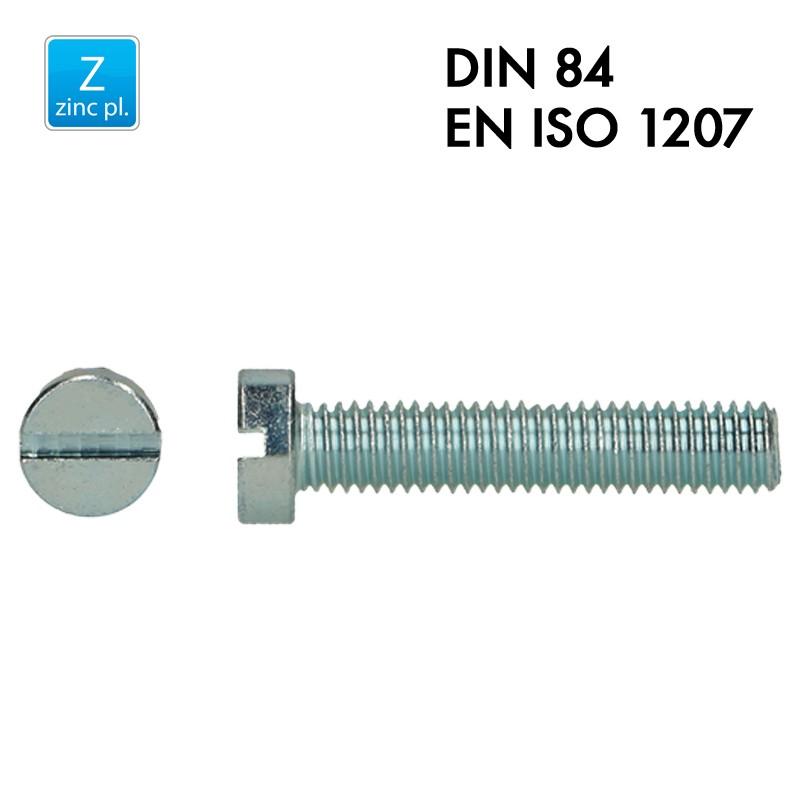 Vis à tête cylindrique fendue - Acier 4.8 zingué - Filet complet - DIN 84 - EN 1207