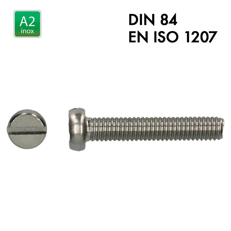 Vis à tête cylindrique fendue - Inox A2 - Filet complet - DIN 84 - EN 1207