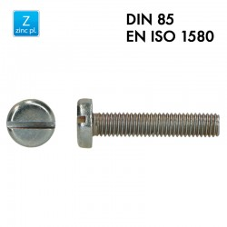 Vis à tête cylindrique fendue - Acier 4.8 zingué - Filet complet - DIN 85 - EN 1580