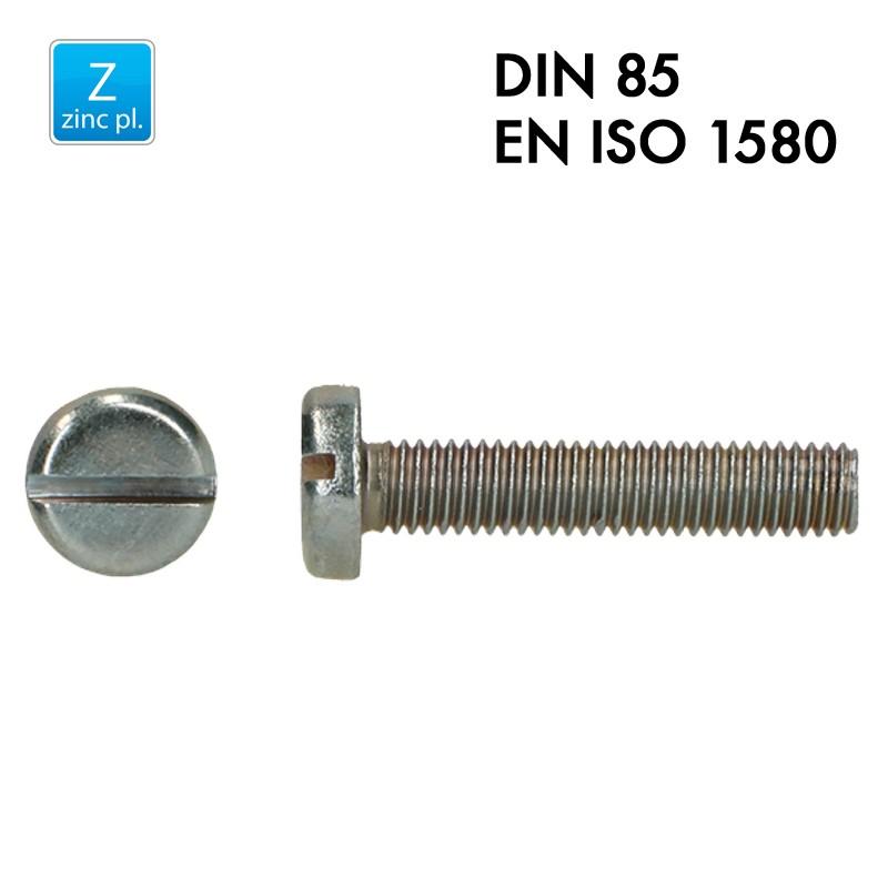 Vis à tête cylindrique fendue - Acier 4.8 zingué - Filet complet - DIN 85 - EN 1580