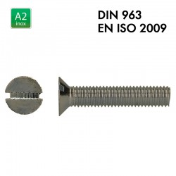 Vis à tête fraisée fendue - Inox A2 - Filet complet - DIN 963 - EN 2009