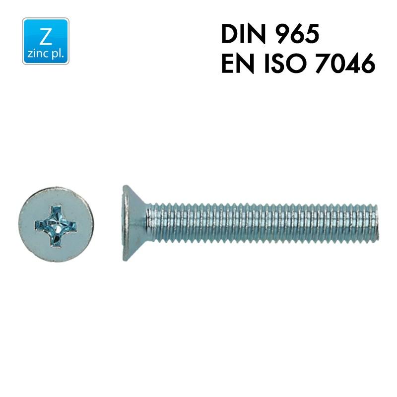 Vis à tête fraisée PH - Acier 4.8 zingué - Filet complet - DIN 965 - EN 7046