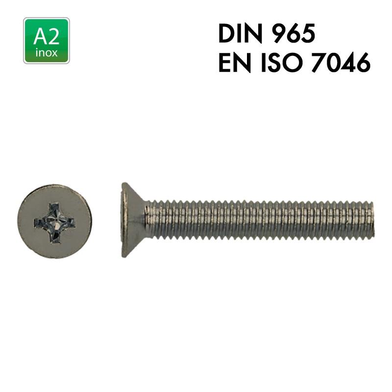 Vis à tête fraisée PH - Inox A2 - Filet complet - DIN 965 - EN 7046