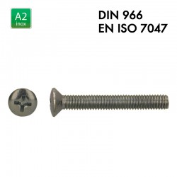 Vis à tête fraisée et bombée PH - Inox A2 - Filet complet - DIN 966 - EN 7047
