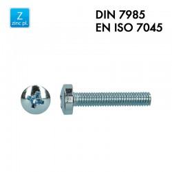 Vis à tête cylindrique bombée PH - Acier 4.8 zingué - Filet complet - DIN 7985 - EN 7045