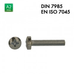 Vis à tête cylindrique bombée PH - Inox A2 - Filet complet - DIN 7985 - EN 7045
