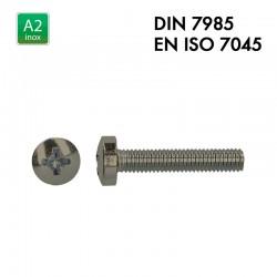Vis à tête cylindrique bombée PH - Inox A2 - Filet complet - DIN 7985 - EN 7045
