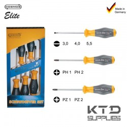 JEU DE TOURNEVIS ELITE - 7 PCES - PLAT + PH + PZ