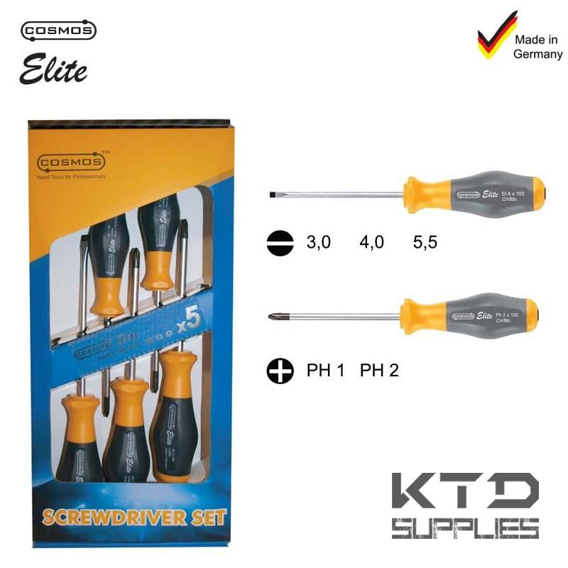 JEU DE TOURNEVIS ELITE - 5 PCES - PLAT + PH